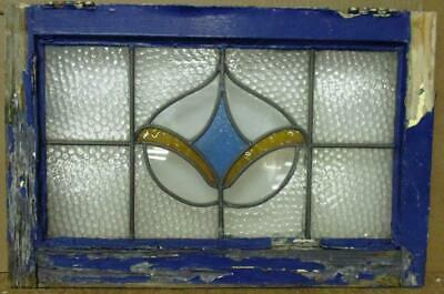 """OLD ENGLISH LEADED STAINED GLASS WINDOW Fleur De Lis Design 23"""" 15"""""""