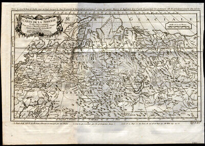 1758 Siberia Russia St Petersburg Moscow Original Jacques Bellin Engraved Map