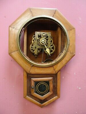 ANTIQUE 1930's MAHOGANY CASED DROP DIAL KITCHEN WALL CLOCK PROJECT