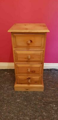 """Antique Solid Pine Four 4 Drawer Bedside Chest Of Drawers 30""""H 14.5""""W 13""""D vgc"""