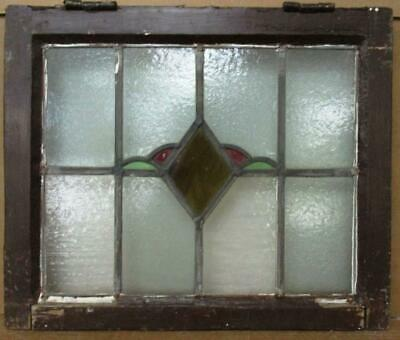 """OLD ENGLISH LEADED STAINED GLASS WINDOW Simple Diamond & """"Leaf"""" 20.25"""" 16.75"""""""