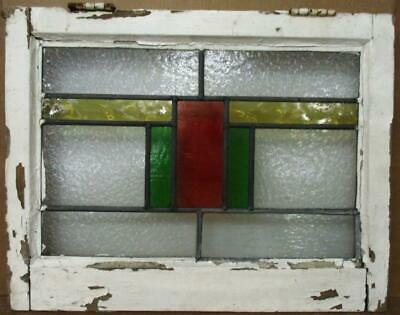 """OLD ENGLISH LEADED STAINED GLASS WINDOW Geometric Stripe Design 22.25"""" x 17.25"""""""