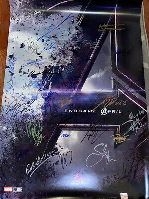 Avengers Endgame DS Movie Poster CAST SIGNED Premiere Ironman Robert Downey
