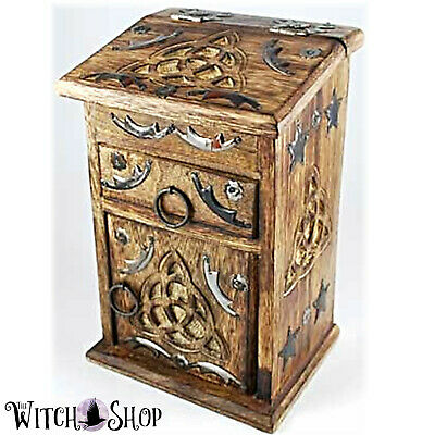 Celtic Triquetra Witches Cupboard Wiccan Chest for Altar Oils Herbs Storage