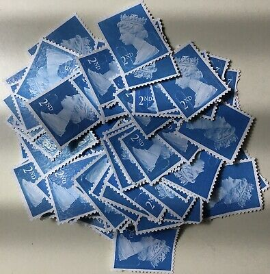 50 2nd Class Stamps Unfranked off Paper no Gum
