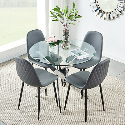 Small Dining Table Set For 4, Small Glass Dining Table And 4 Chairs Faux Leather Black Metal Legs Diamond Home 46 99 Picclick Uk