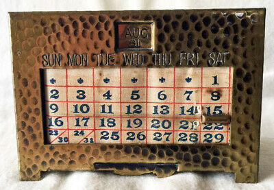 Rare Vintage 1928 Mission - Arts & Crafts Hammered Brass Perpetual Desk Calendar
