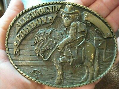 Vintage Belt Buckle All Around Cowboy Monkey On A Horse Solid Brass Engravable