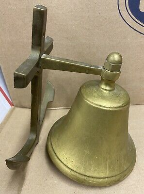 Vintage Brass Ships Bell with Anchor Wall Mount Nautical Brass Bell Rings Loud