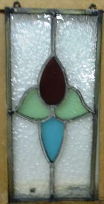 "OLD ENGLISH LEADED STAINED GLASS WINDOW Cute Tiny Tulip w Hooks 8.5"" x 14"""