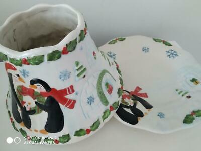 Yankee Candle Christmas 'Penguin Family' Large Shade & Plate - Perfect Cond
