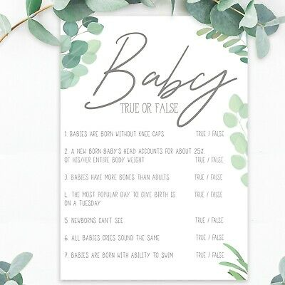 Baby Shower Games True or False Quiz Trivia Boy Girl Unisex Botanical Boho x20