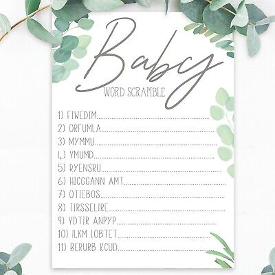 Baby Shower Games Word Scramble Unisex Baby Boy Girl New Botanical Boho x20