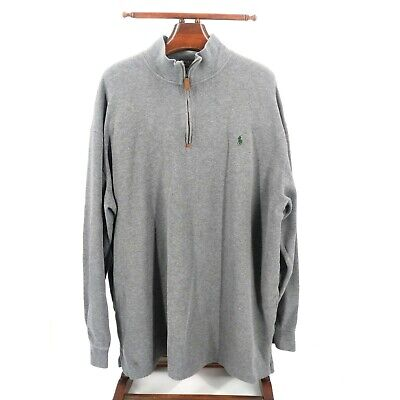 Polo Ralph Lauren Sweater Mens 3XL Tall Pullover 1/4 Zip Gray Pony Blue Label