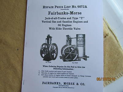 Fairbanks Morse Type T JOAT Gas Engine Repair Parts List Manual # 9072A 1916