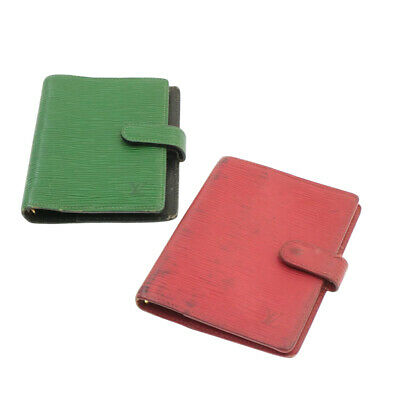 LOUIS VUITTON Epi Agenda PM Day Planner Cover Green Red 2Set LV Auth yk266