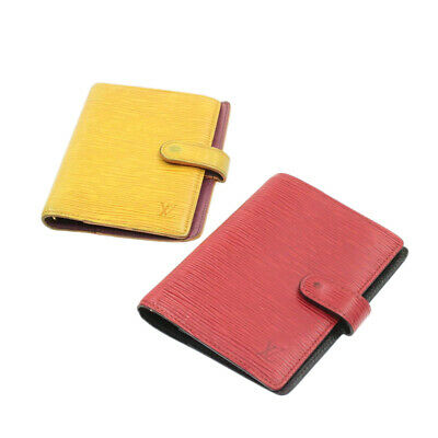 LOUIS VUITTON Epi Agenda PM Day Planner Cover Red Yellow 2Set LV Auth yk265