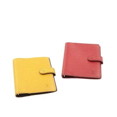 LOUIS VUITTON Epi Agenda PM Day Planner Cover 2Set Red Yellow Auth 16229