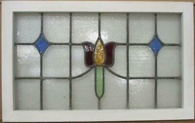 "OLD ENGLISH LEADED STAINED GLASS WINDOW Pretty Tulip Transom 30.75"" x 19.25"""
