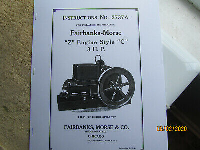 1935 3HP ZC Fairbanks Morse Gas Engine Operating Instructions/Parts Manual