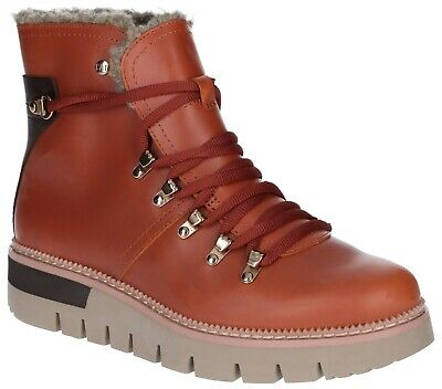 LADIES FAUX LEATHER 7 EYELET LACE UP ANKLE BOOTS HONEY GRIP SOLE SIZE 3-8
