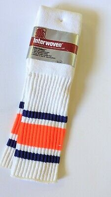 VINTAGE PAIR OF NOS 80'S STRIPED OVER THE CALF TUBE SOCKS Interwoven USA