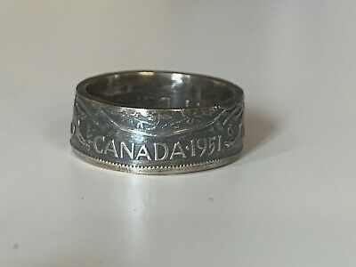 7 TO 14.5 #222 CANADA SILVER COIN RINGS HANDCRAFTED CANADIAN HALF DOLLAR SIZE