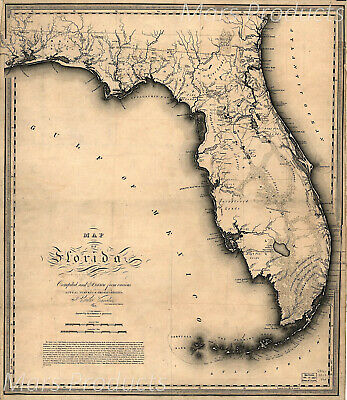 Vintage Map of Florida and Gulf of Mexico 1823