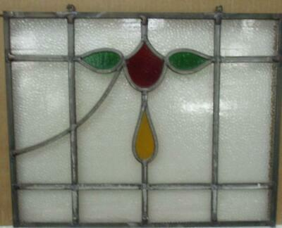 "OLD ENGLISH LEADED STAINED GLASS WINDOW Unframed w Hooks Floral 18.75"" x 13.5"""