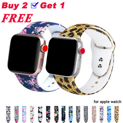 Printed Silicone Strap Sport band Wristband for Apple Watch Series 6 5 4 3 2 1