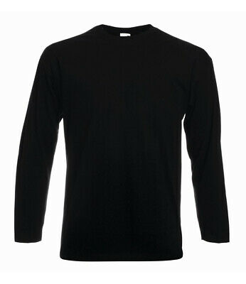 Valueweight Long Sleeve Mens T-Shirt Plain Cotton Tee Casual Work Summer Holiday