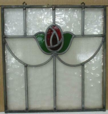 "OLD ENGLISH LEADED STAINED GLASS WINDOW Unframed w Hooks Pretty Rose 14"" x 14.5"""