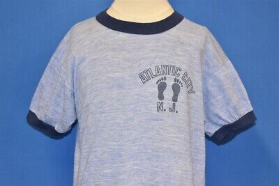 vtg 80s ATLANTIC CITY NEW JERSEY HEATHERED BLUE RINGER t-shirt YOUTH LARGE YL