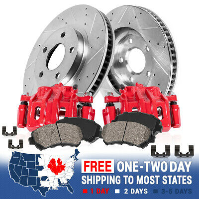 Front Brake Calipers And Rotors + Pads For 2007 2008 2009 Equinox Torrent XL-7