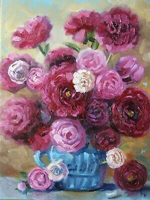 Original Oil Stretched Painting Peonies Flowers Palette Knife Art By Artist