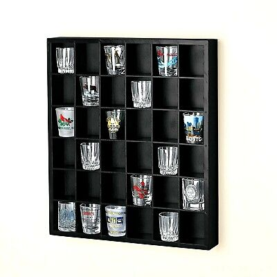 36 Shot Glass Display Shelf Case Rack Wall Shelves Shadow Box Wood Holder BLACK