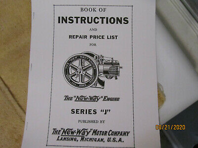 New Way Motor Co J Series Jewel Air Cooled Gas Engine Instruction/Parts Manual