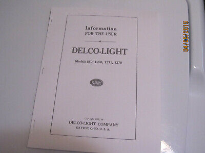 1922 Delco Light Plant Gas Engine Instruction Manual