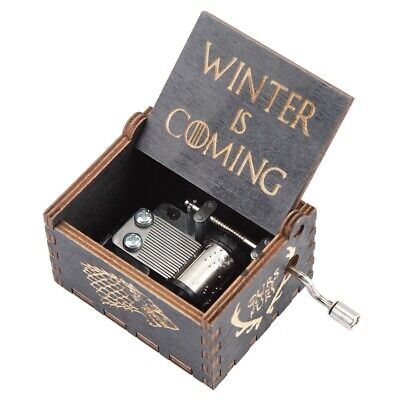Hand Crank Carved Wooden Music Box Wooden Engraved Music Toys Kid #1 Household