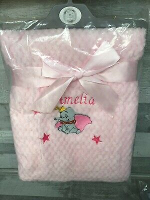 Personalised Embroidered Supersoft Waffle Blanket Peter Rabbit/Dumbo Pink/Blue