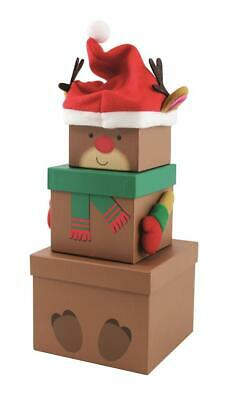 Box of 12 Christmas Stacking Boxes Plush Decorative REINDEER wholesale