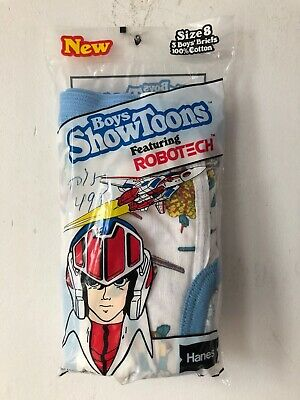 vintage hanes boys showtoons robotech briefs size 8 deadstock 80s