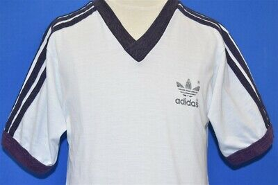 vintage 80s ADIDAS 3 STRIPES TREFOIL V-NECK RINGER WHITE NAVY BLUE t-shirt YM
