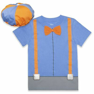Blippi Roleplay Shirt and Hat Roleplay Set with Printed Bow Tie and Suspender...