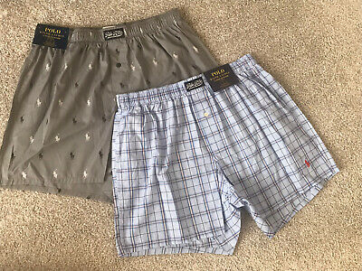 Polo Ralph Lauren lot 2 mens Pony boxers blue plaid, gray 100% cotton M $56