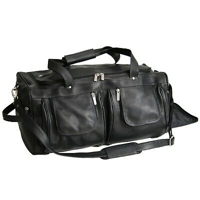 Royce Leather Colombian Vaquetta Carry-on Duffel Bag Black