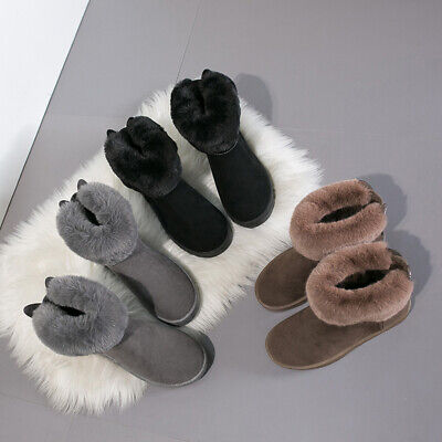 Ladies Zip Slipper Boots Suede Fur Lined Winter Warm Thermal Ankle Bootie Shoes