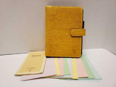 Louis Vuitton Agenda MM Yellow Epi Leather Purple 6 Ring Binder Cover with Paper