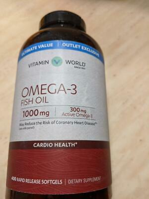 Vitamin World Ultimate Value Omega-3 Fish Oil 400 Rapid Release Softgels - NEW!