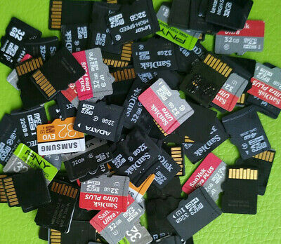 Lot of 25 32GB mixed brands MicroSD Cards Sandisk Samsung etc - memory phone